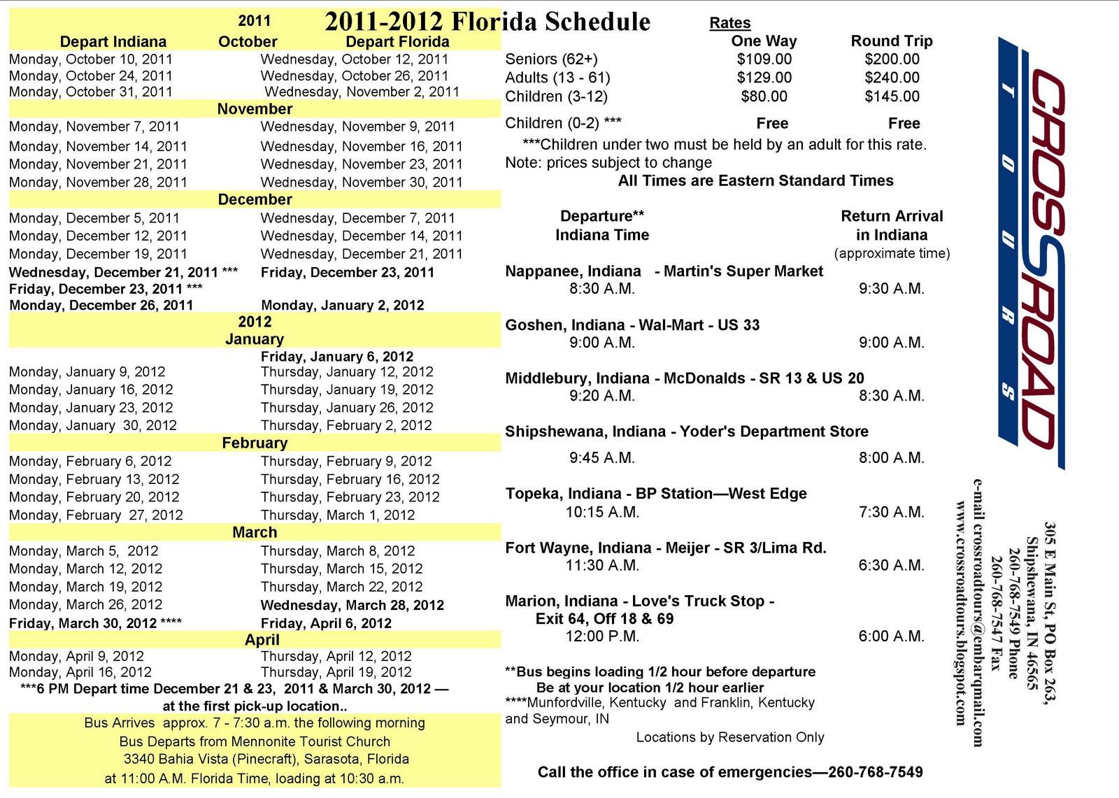 Florida Schedule 2011-2012