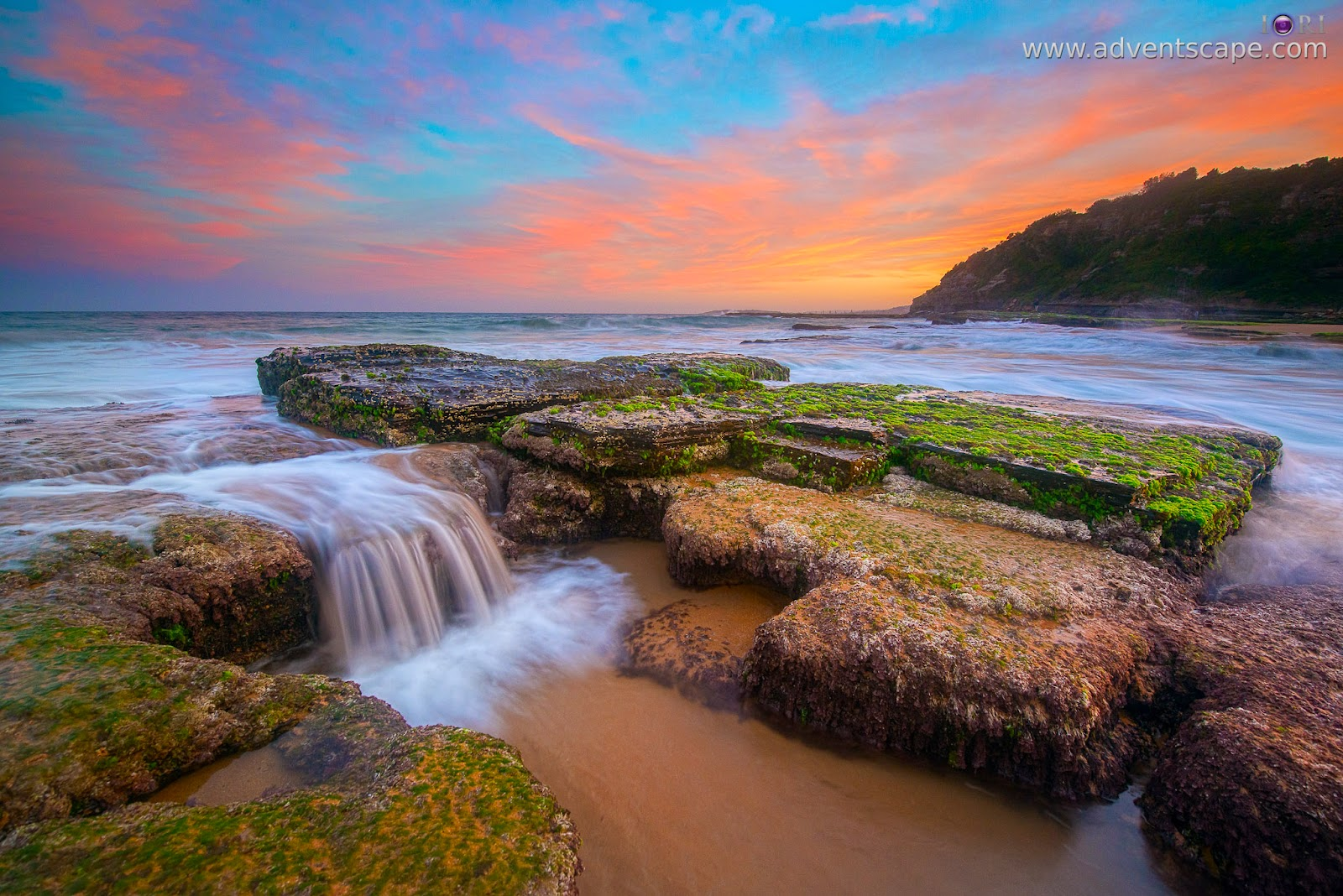 Australia, landscape, lee filter, Narrabeen, Narrabeen Head, New South Whales, Northern Beaches, NSW, Philip Avellana, seascape, sunset, Turimetta Beach, adventscape, Philip Avellana, Australia Landscape Photographer, waterfall