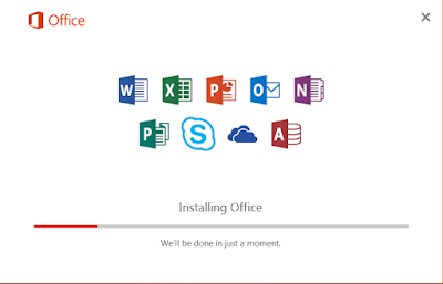 Office 2016 dalam proses installasi