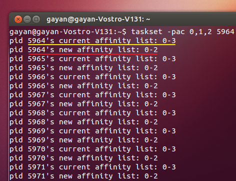 'taskset' showing the old and new CPU affinity values