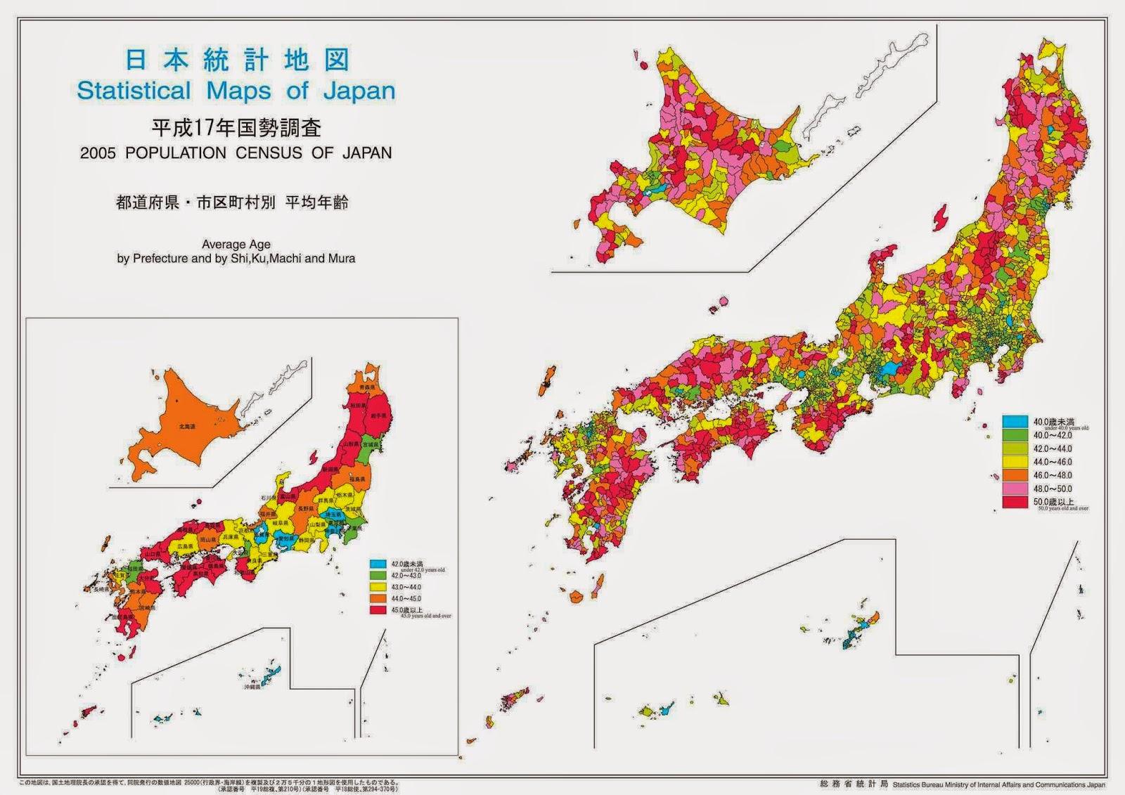 Censo 2005 do Japão: as cores apontam a idade média e o envelhecimento do país.