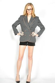 Vintage 1980's grey Christian Dior double breasted blazer with front patch pockets.