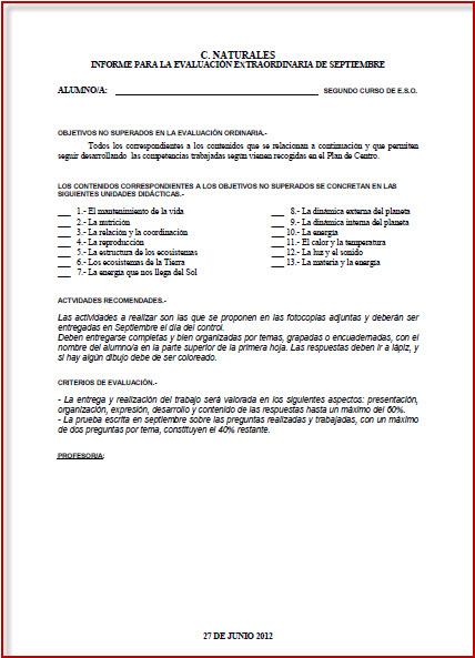 Matemáticas 1º ESO: Modelo informe de evaluación de las competencias