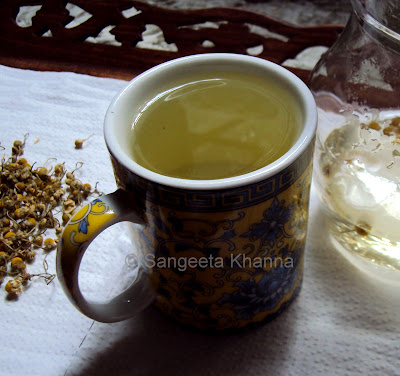 Chamomile tea ...to get relief from migraines,anxiety, IBS and cramps...
