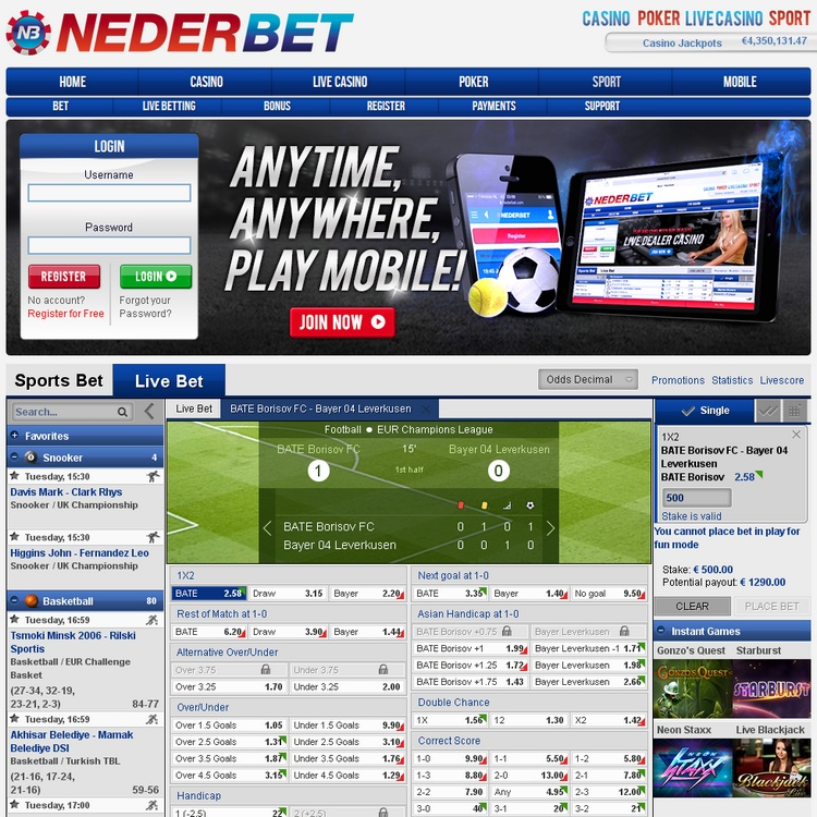 Nederbet Live Betting Offers