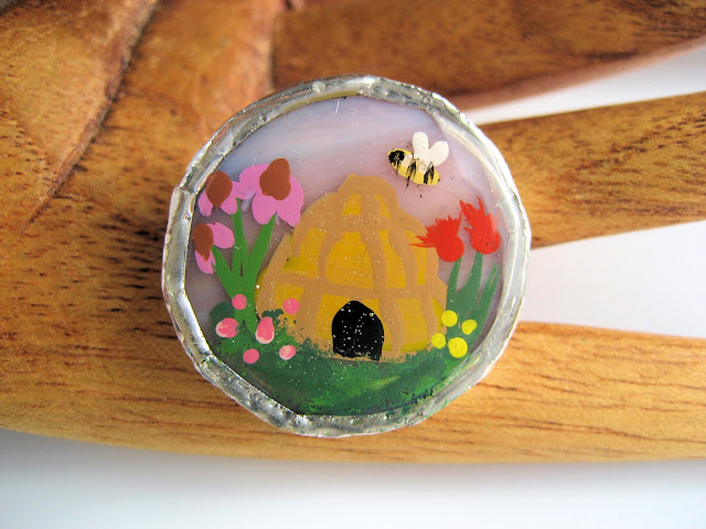 Handpainted stained glass button by Lori Bowring Michaud
