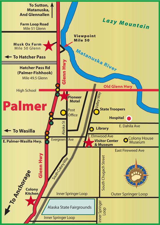 Maps of Alaska Roads By Bearfoot Guides: Map of Palmer, Alaska