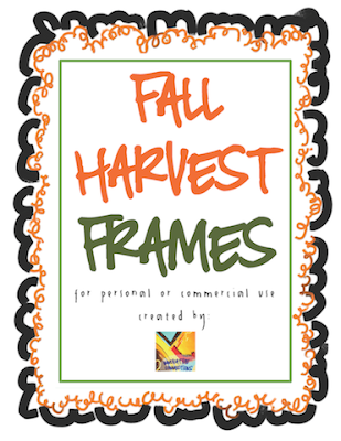 A. Smith Fall Harvest Frames for free TpT Store Classroom Freebies Too