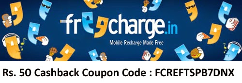 Get Free Rs.50 Cashback on Recharge of Rs.10 via freecharge android app