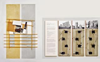 Kuno Lindenmann, Links: O.T. DA 106/I, Bildobjekt mit Wandmalerei, 191 x 106 cm, 2013. Rechts: 4-teilige Arbeit, Bildobjekt/Mischtechnik, 120 x 220 cm, 1993
