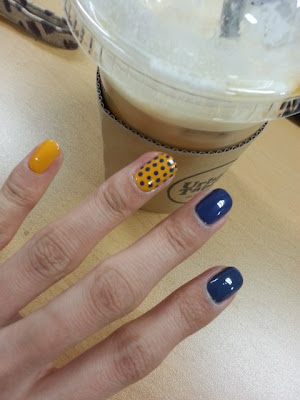 Nail art of a day! Blue and Yellow Polka dot Nail art