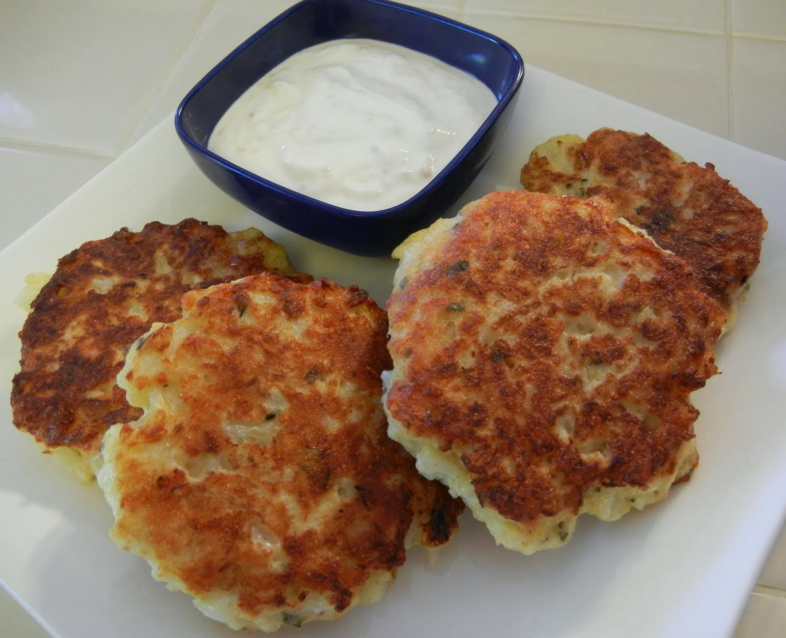 ... Vegetarian Day Recipes: Cauliflower Fritters with Greek Yogurt Dip