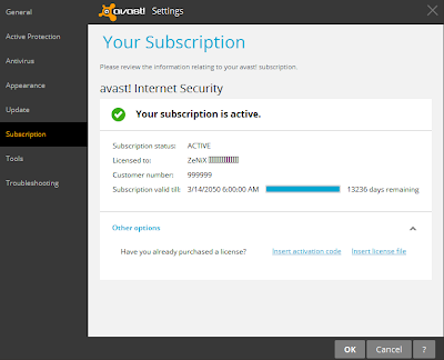 Avast 9 internet security free license key (working till 2050)