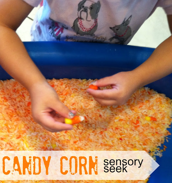 Halloween Sensory Play: Candy Corn Sensory Seek | Tutus & Tea Parties