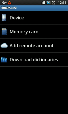 Android Office Suite - Document Sources