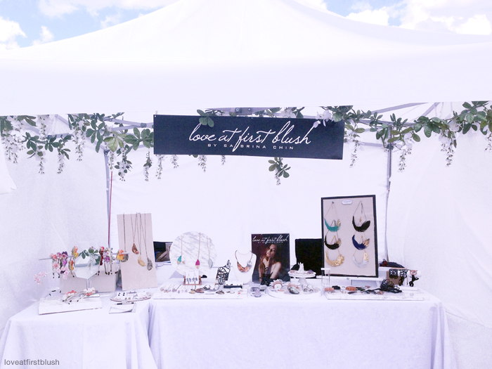 Outdoor booth canopy set up at Kempenfest Love at first Blush