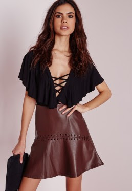 whip-stitch detail faux leather mini skirt burgundy from Missguided