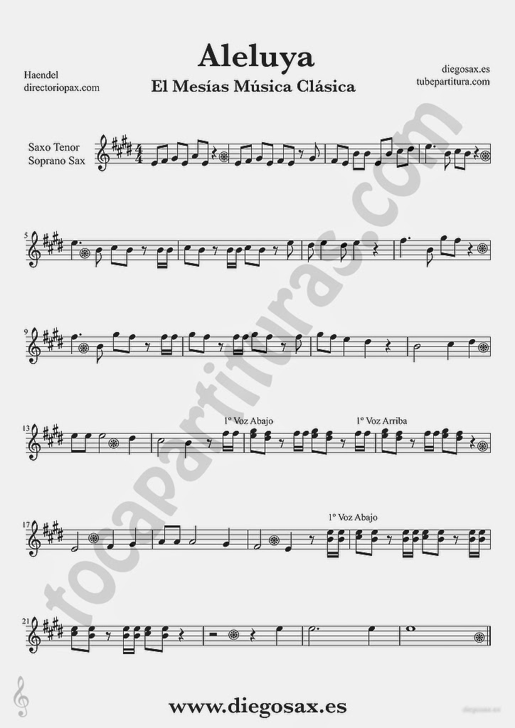 Tubescore Hallelujah by Handel Sheet Music for Tenor Sax and Soprano Sax