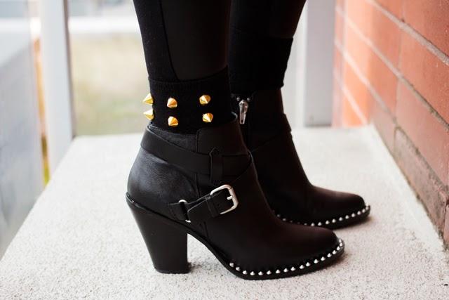 Vancouver fashion blogger gold spike socks