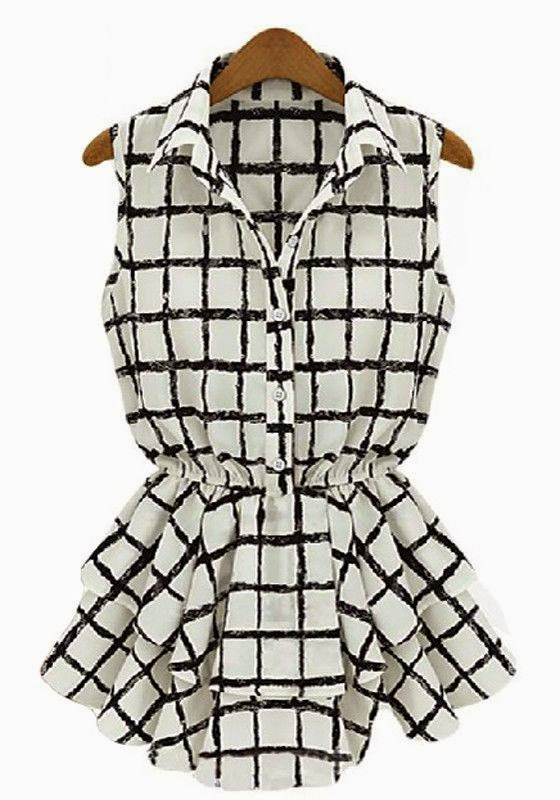 white plaid belt turndown collar sleeveless chiffon blouse, CiChic.com
