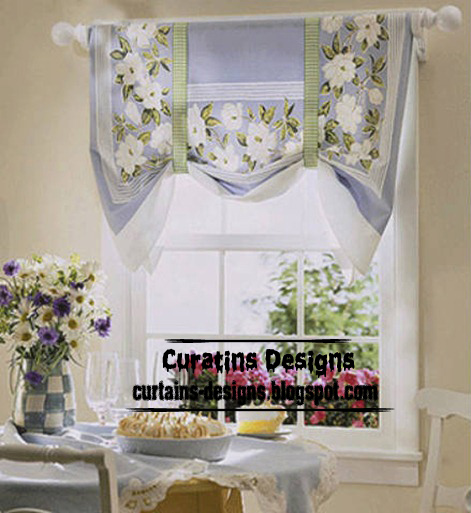 Green Kitchen Curtain Ideas: Unique Kitchen Shades Curtain Design, Gray Blue Curtain