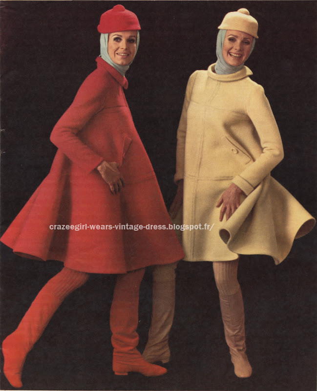 dress coat 1966 Jean patou 60s 1960 red yellow