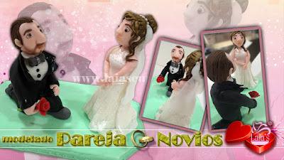 Modelado de fondant pareja de novios Laia's Cupcakes Puerto Sagunto