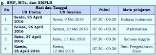 Jadwal Ujian Nasional Tingkat SMP MTs 2016