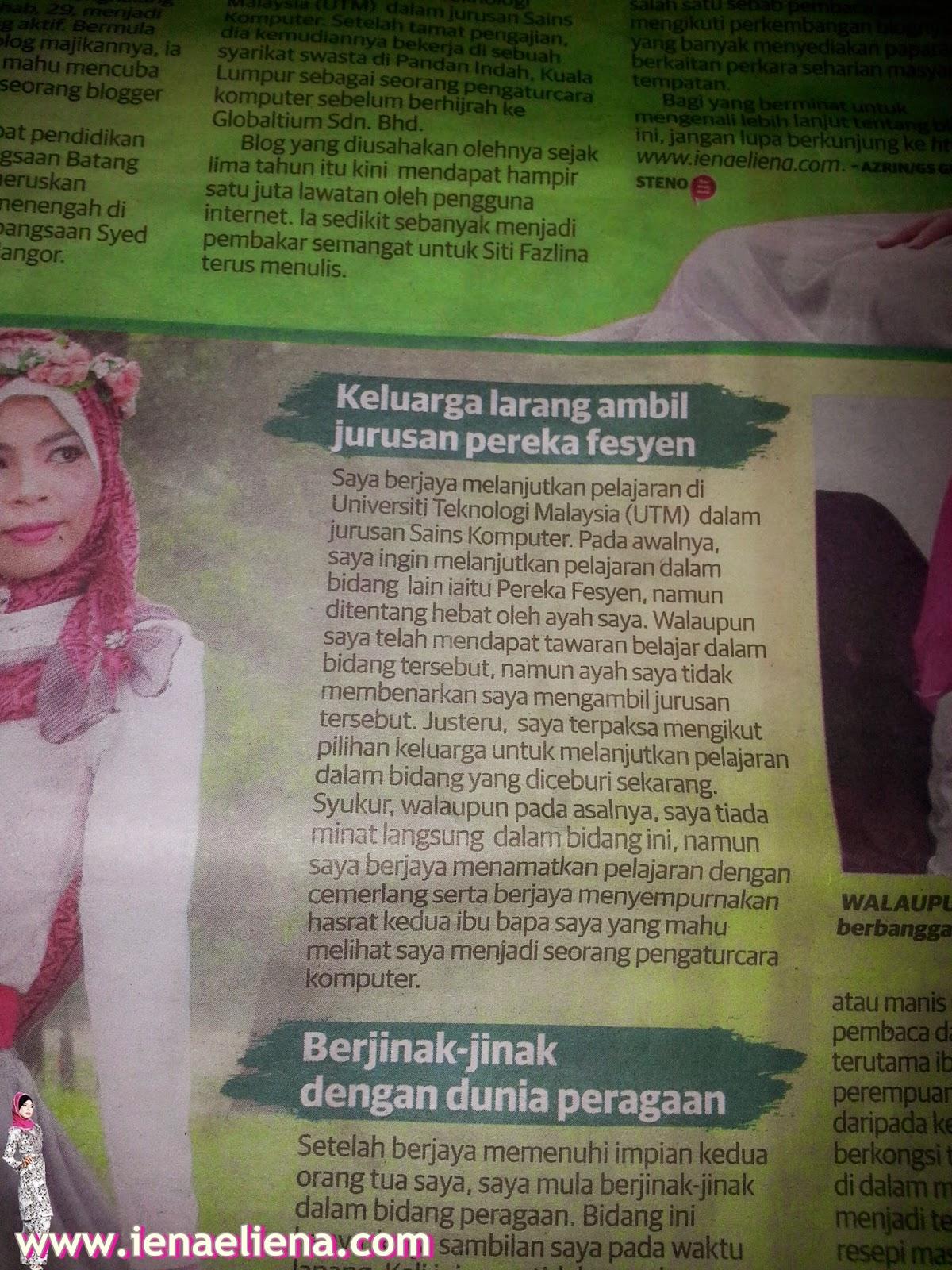 Cik Iena di Utusan Malaysia