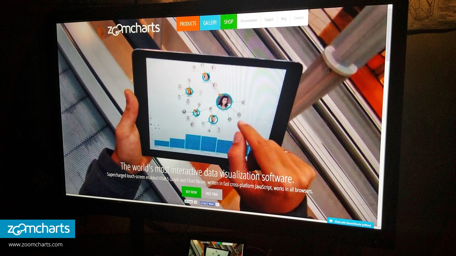 a zoomcharts presentation graces the screen at the popular zoomcharts demo booth at the techchill baltics 2015 technology startup conference on february 10