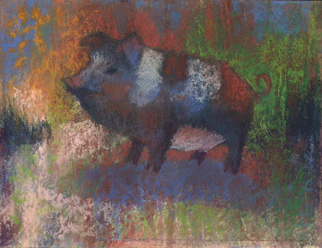 some pig pastel barnyard animal artist janine aykens