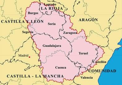 """Mapa de la """"Serranía Celtibérica"""""""
