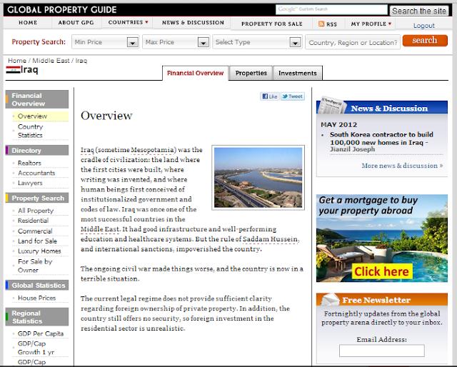 تقييم موقع www.globalpropertyguide.com  للاستثمار العقاري في العراق