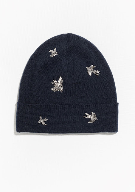 and other stories bird beanie, embroidered beanie, bird beanie, navy bird hat,