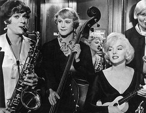 Tony Curtis, Jack Lemmon y Marilyn Monroe en Con faldas y a lo loco