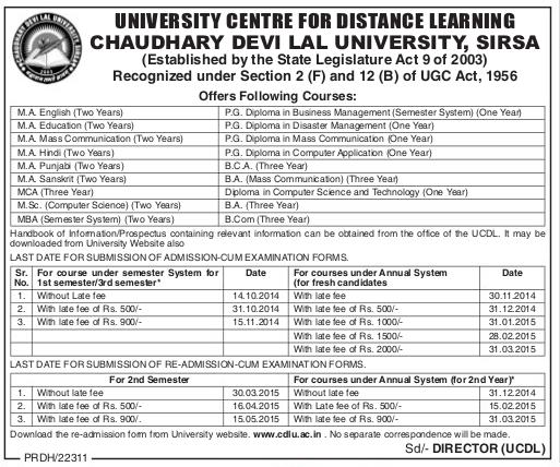 CDLU Distance Education Admission 2014-15 MA-BA-Diploma