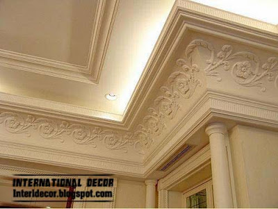 Ceiling Plaster Cornice With Hidden Lights Gypsum