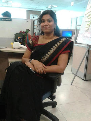 Tamil girl durga wearing saree to her office.