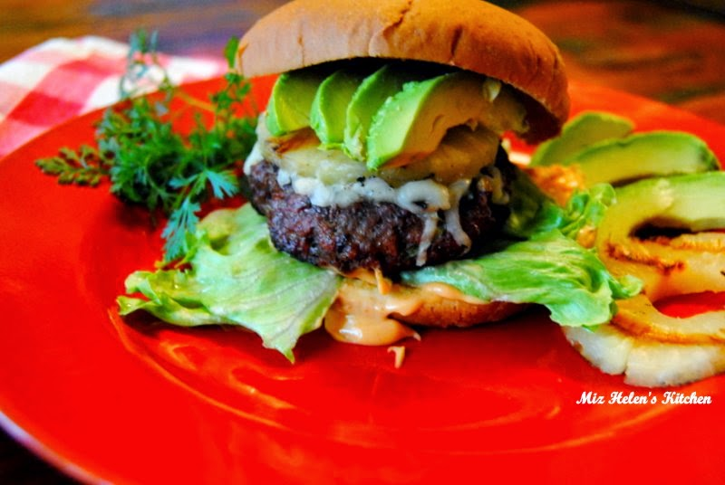 Pineapple Burger with Sriracha Sauce at Miz Helen's Country Cottage