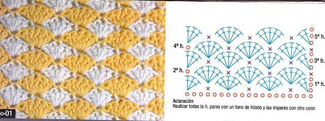 #653 [Punto] Patrón de Abanicos Bicolor
