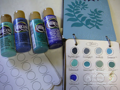 paint swatch book inside blues