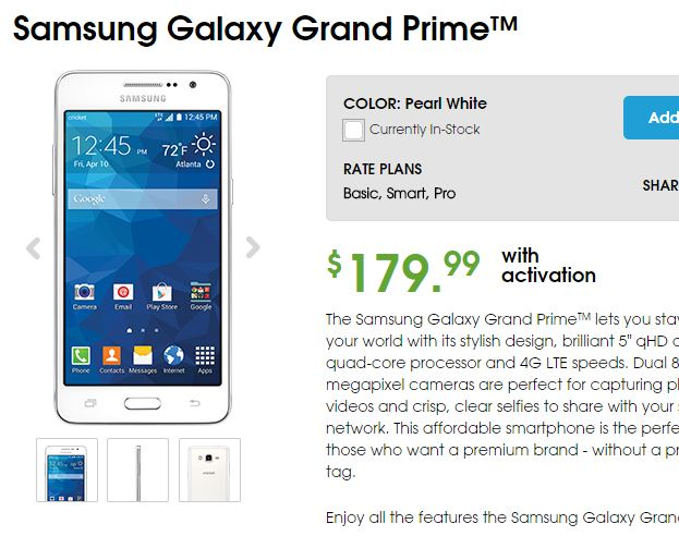 Cricket wireless now offering samsung galaxy grand prime in us