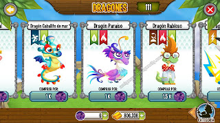 imagen del dragon caballito de mar_dragon paraiso y dragon rabioso en dragon city ios