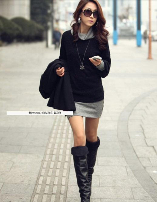 Amazing Fall fashion with Black jacket, sweater and grey skirt