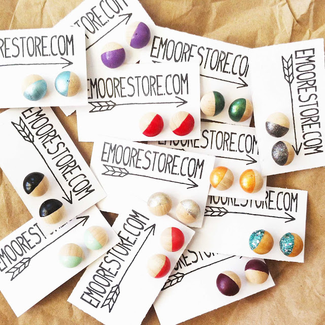 painted wooden earrings by emoorestore