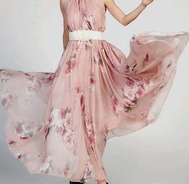 Sleeveless Flare Pink Vintage Rose Big Pendulum Maxi Chiffon Dress