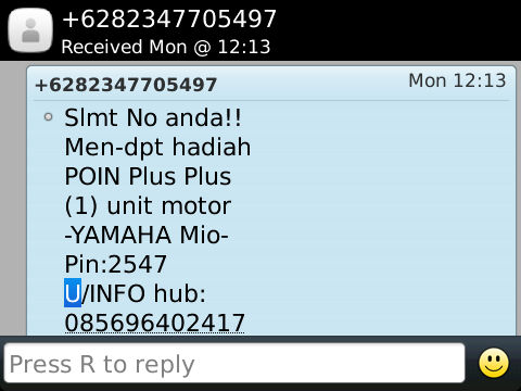 Cyber Crime Contoh Sms Penipuan