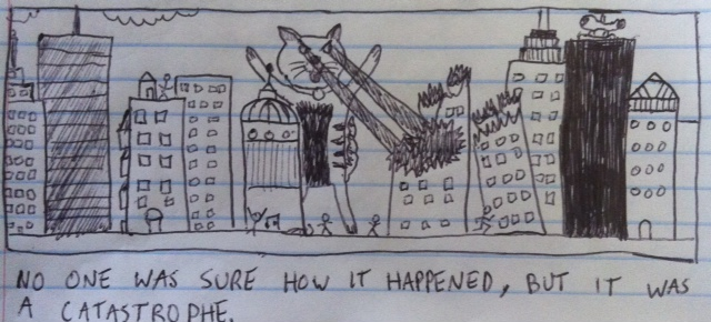 Catastrophe cat is destroying the buildings downtown