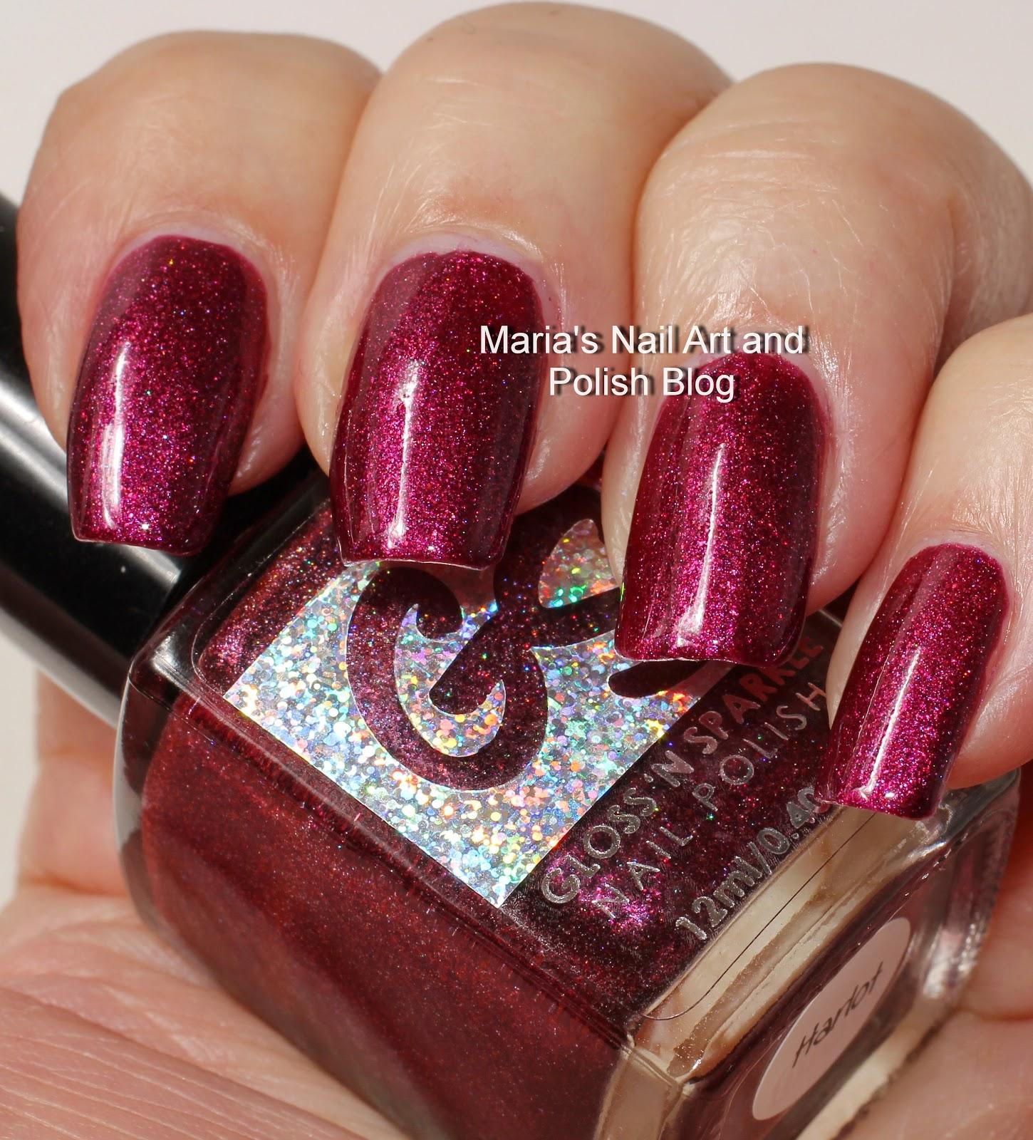 Marias Nail Art And Polish Blog Flushed With Stripes And: Marias Nail Art And Polish Blog: Gloss 'n Sparkle Harlot