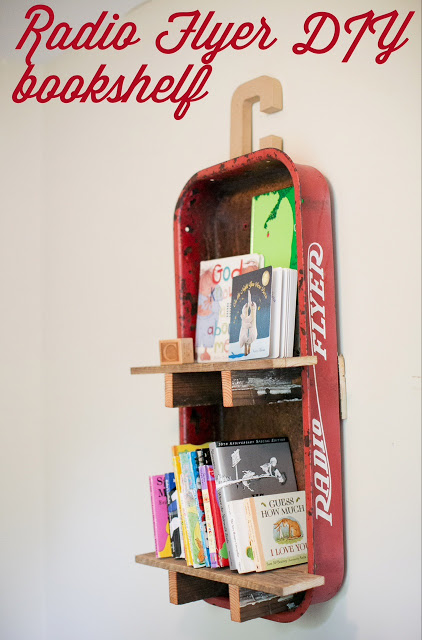 DIY Radio Flyer wagon bookshelf